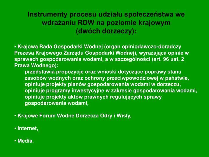 Instrumenty procesu udziału społeczeństwa we wdrażaniu RDW na poziomie krajowym                (dwóch dorzeczy):