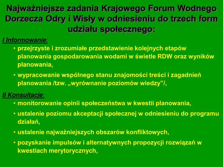 Najważniejsze zadania Krajowego Forum Wodnego Dorzecza Odry i Wisły w odniesieniu do trzech form udziału społecznego: