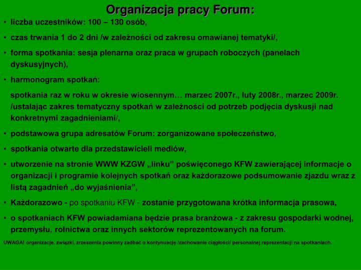 Organizacja pracy Forum: