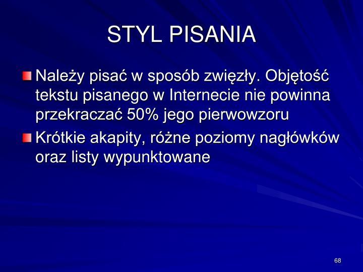 STYL PISANIA