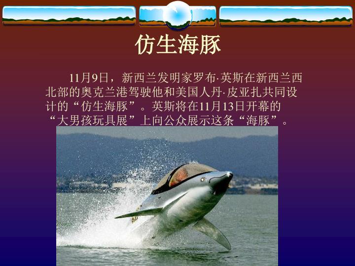 """11月9日,新西兰发明家罗布·英斯在新西兰西北部的奥克兰港驾驶他和美国人丹·皮亚扎共同设计的""""仿生海豚""""。英斯将在11月13日开幕的""""大男孩玩具展""""上向公众展示这条""""海豚""""。"""
