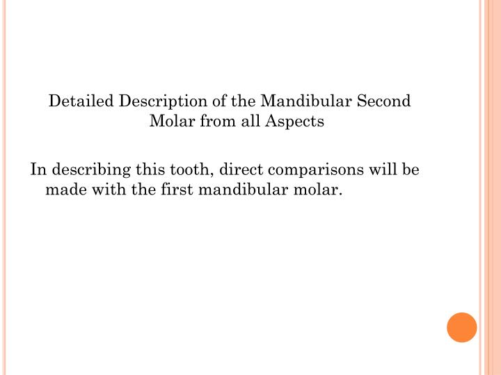 Detailed Description of the Mandibular Second Molar from all Aspects