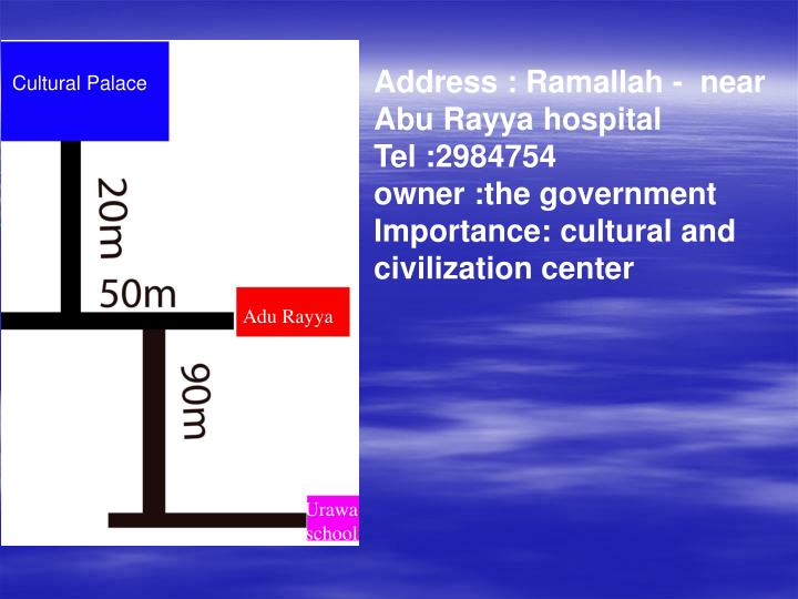 Address : Ramallah -  near Abu Rayya hospital