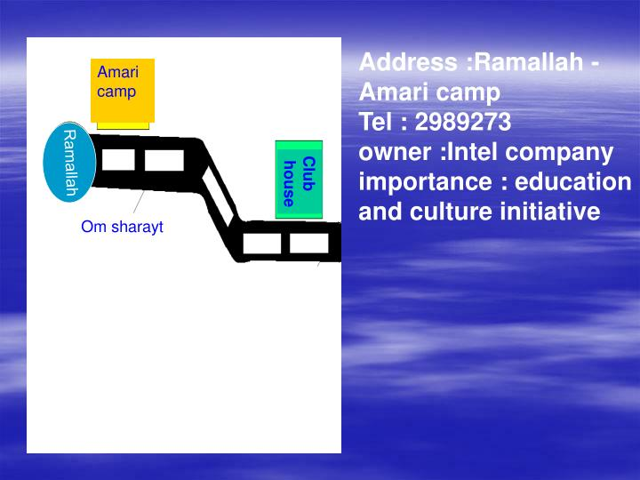 Address :Ramallah - Amari camp