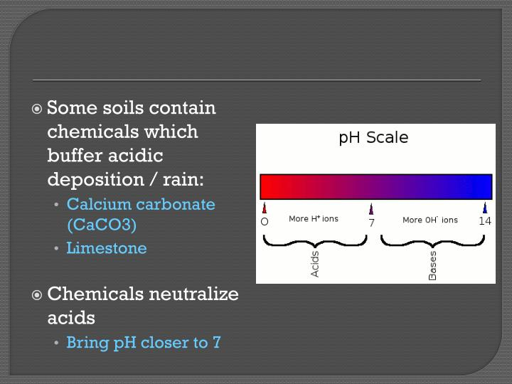 Some soils contain chemicals which buffer acidic deposition / rain: