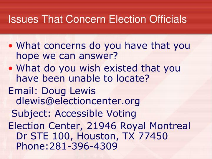 Issues That Concern Election Officials