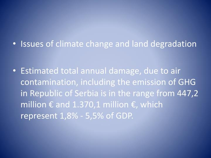 Issues of climate change and land degradation