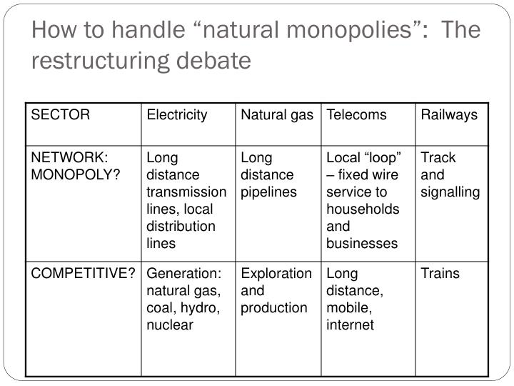 How to handle natural monopolies the restructuring debate
