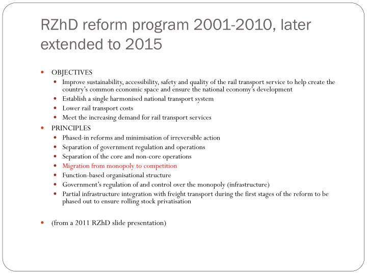 RZhD reform program 2001-2010, later extended to 2015