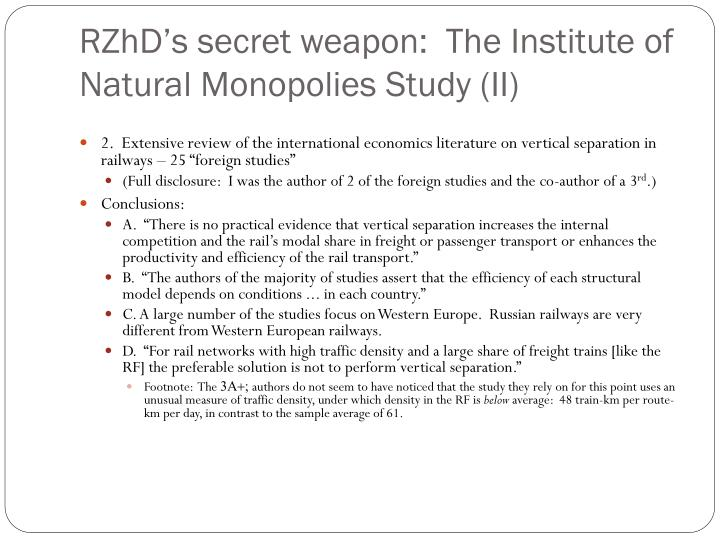 RZhD's secret weapon:  The Institute of Natural Monopolies Study (II)