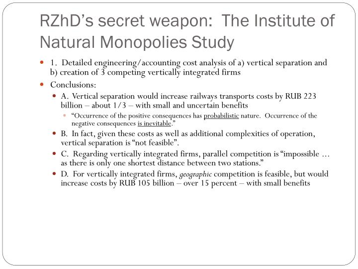 RZhD's secret weapon:  The Institute of Natural Monopolies Study