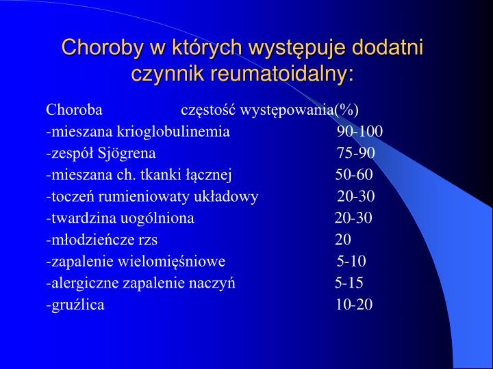 Choroby w których występuje dodatni czynnik reumatoidalny: