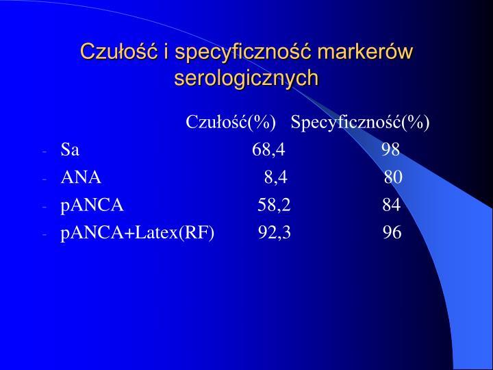 Czułość i specyficzność markerów serologicznych