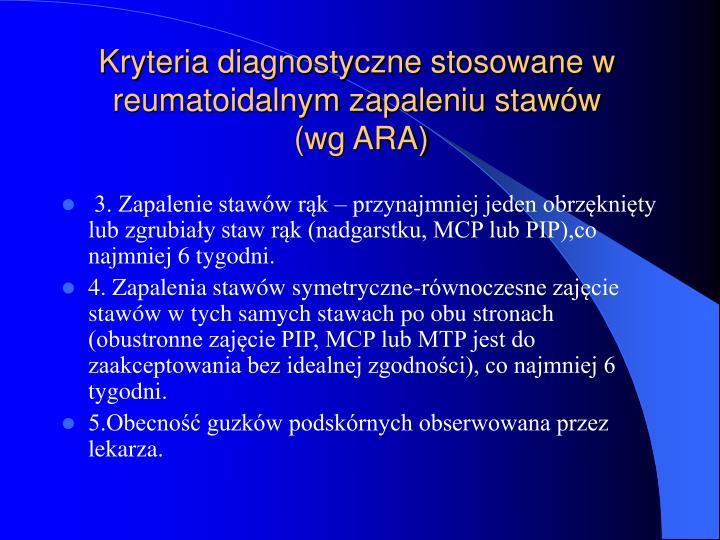 Kryteria diagnostyczne stosowane w reumatoidalnym zapaleniu stawów