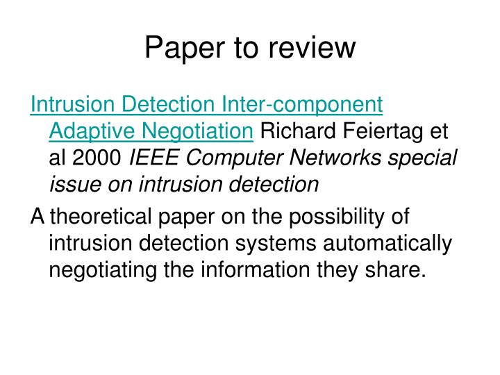 Paper to review