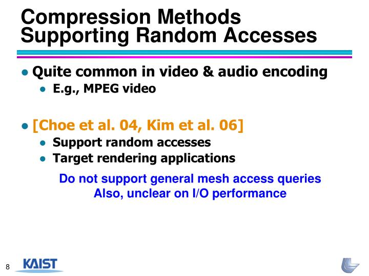 Compression Methods Supporting Random Accesses