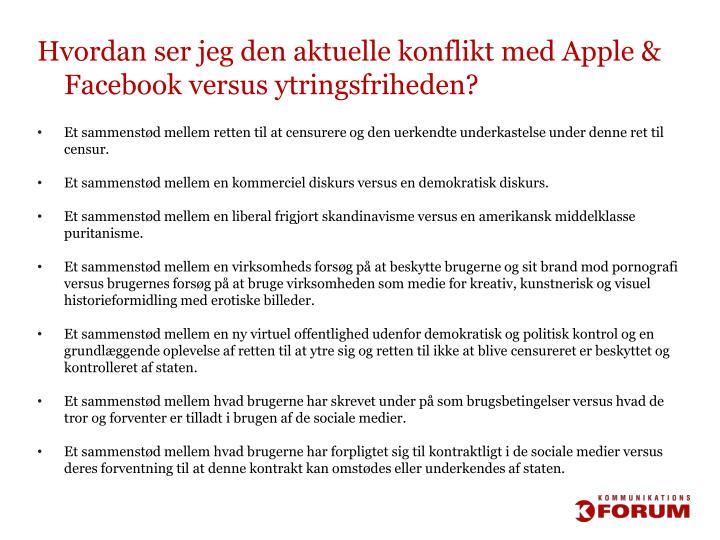 Hvordan ser jeg den aktuelle konflikt med Apple & Facebook versus ytringsfriheden?