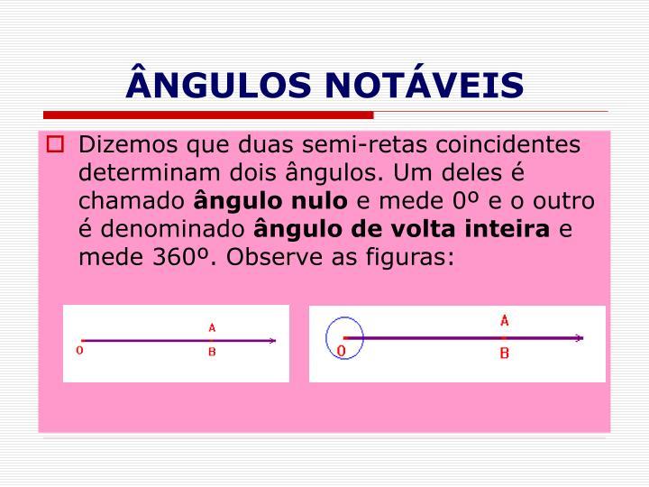 ÂNGULOS NOTÁVEIS