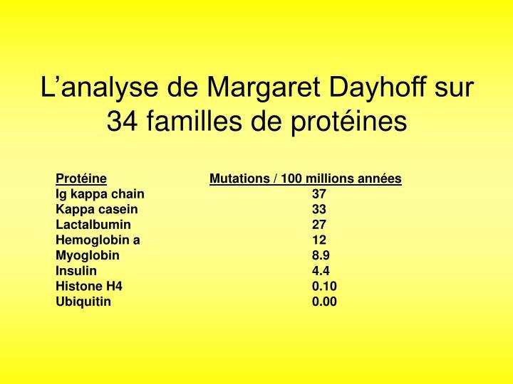 Lanalyse de Margaret Dayhoff sur 34 familles de protines