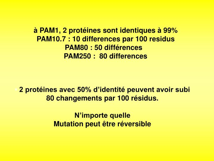 PAM1, 2 protines sont identiques  99%
