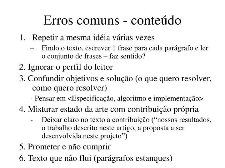 Erros comuns - conteúdo