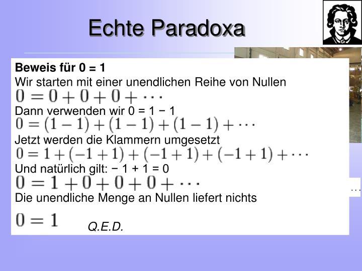 Beweis für 0 = 1