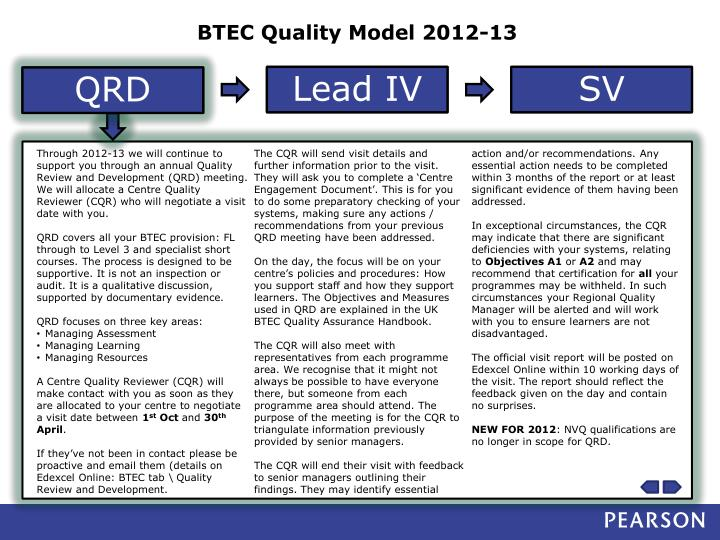 BTEC Quality Model 2012-13