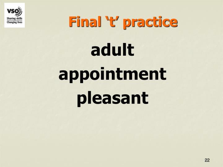 Final 't' practice