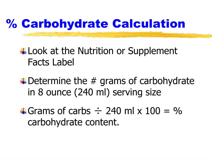 % Carbohydrate Calculation