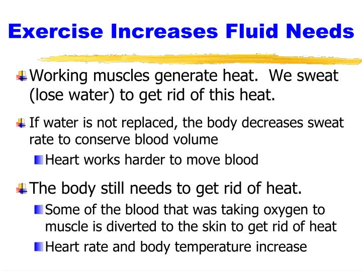 Exercise increases fluid needs