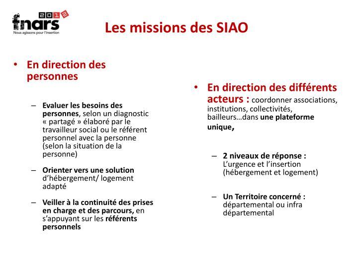 Les missions des SIAO