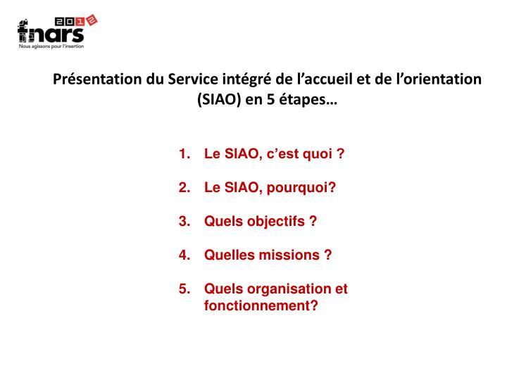 Présentation du Service intégré de l'accueil et de l'orientation (SIAO) en 5 étapes…