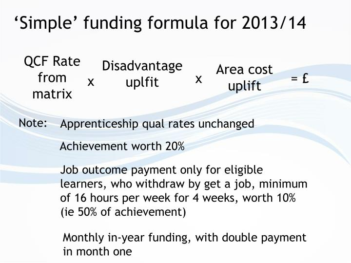 'Simple' funding formula for 2013/14