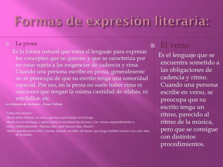 Formas de expresión literaria: