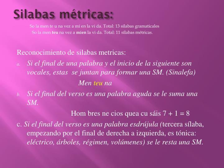Silabas métricas: