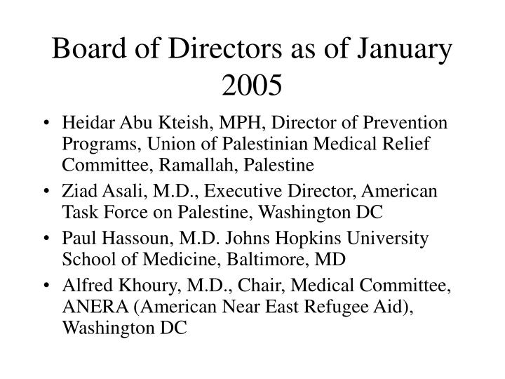 Board of Directors as of January 2005