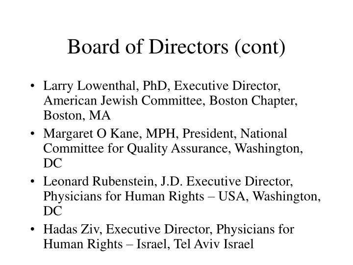 Board of Directors (cont)