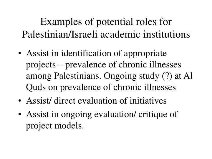 Examples of potential roles for Palestinian/Israeli academic institutions