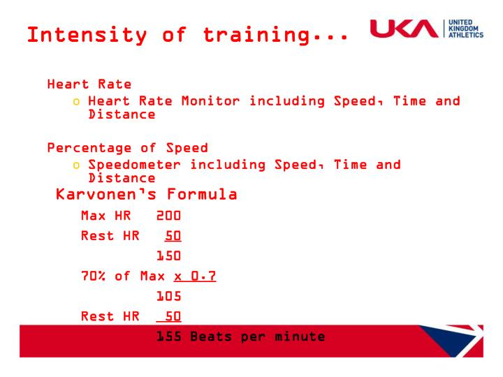 Intensity of training...