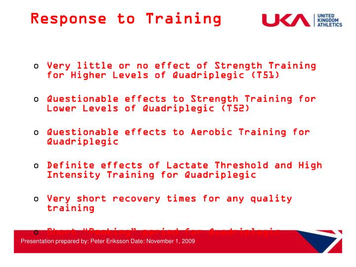 Response to Training