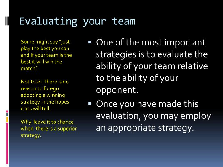 Evaluating your team
