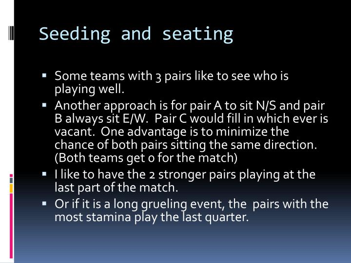 Seeding and seating