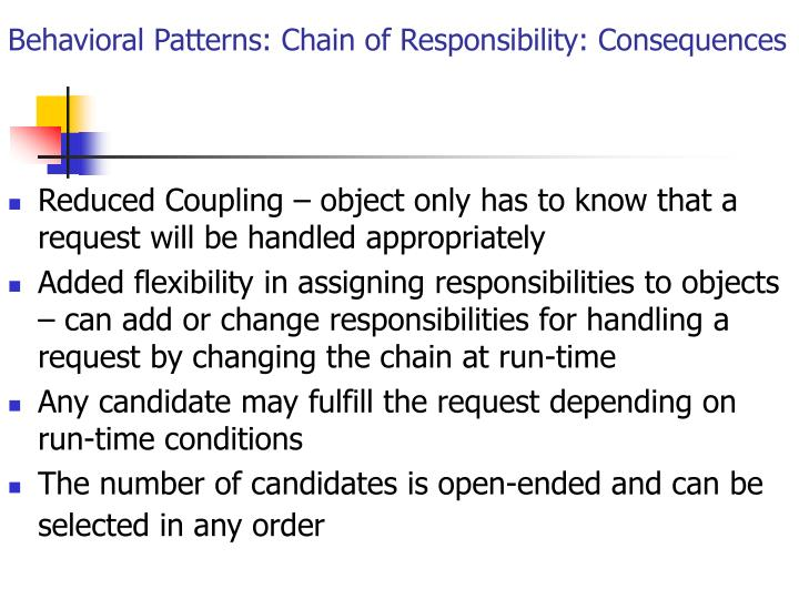 Behavioral Patterns: Chain of Responsibility: Consequences