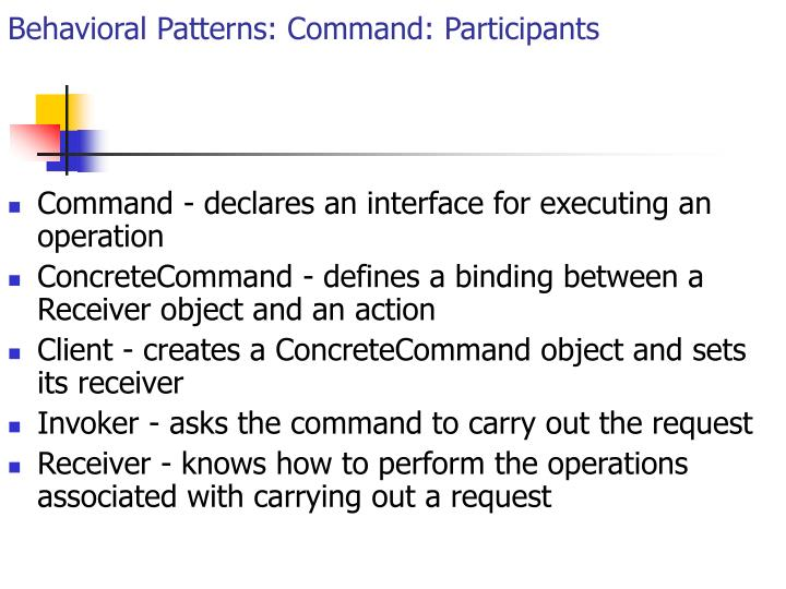 Behavioral Patterns: Command: Participants