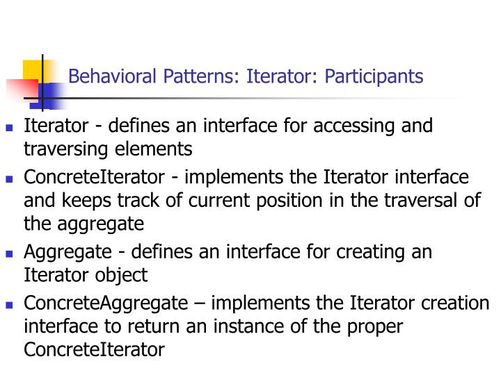 Behavioral Patterns: Iterator: Participants