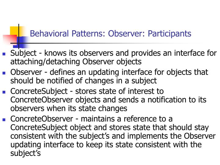 Behavioral Patterns: Observer: Participants