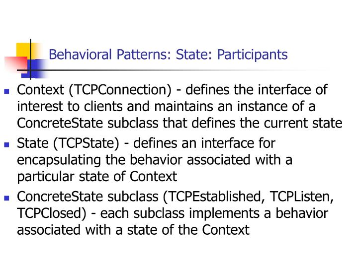 Behavioral Patterns: State: Participants