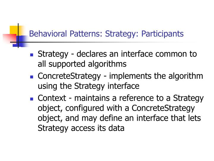 Behavioral Patterns: Strategy: Participants