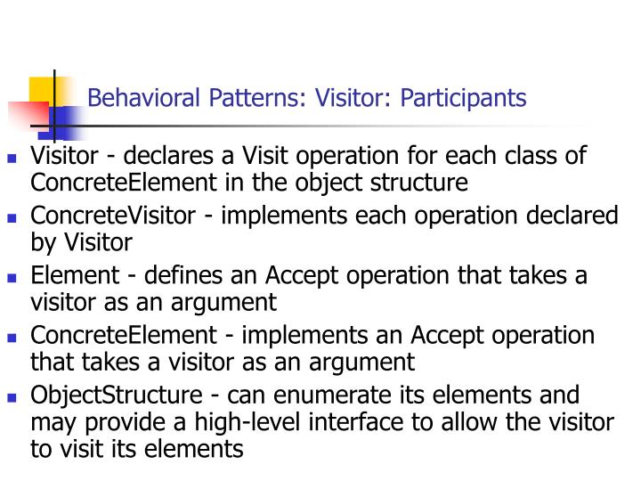Behavioral Patterns: Visitor: Participants