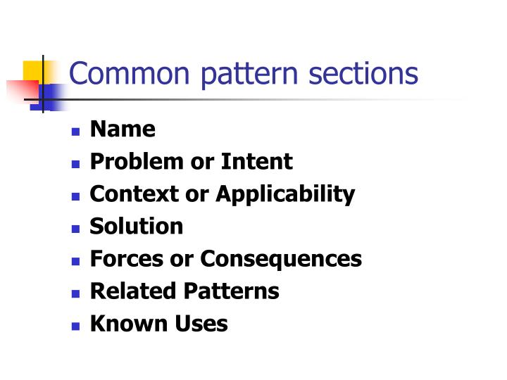 Common pattern sections